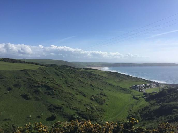 Coombesgate summer view across Woolacombe Beach