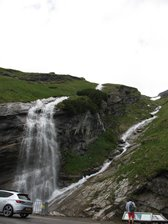 Waterfall from snow melt Grossglockner Hochalpenstrasse