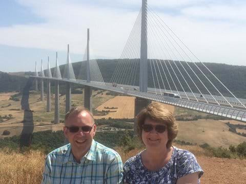 Penny and Robert at the Millau Viaduct