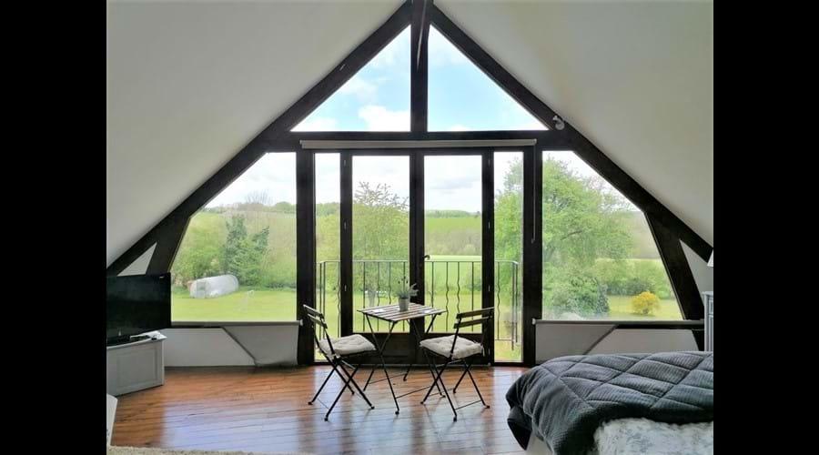 Gables panoramic window overlooking the beautiful Normandie-Maine Naturel Parc