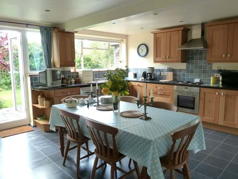 Eat in the spacious kitchen or take it out to the table in the garden