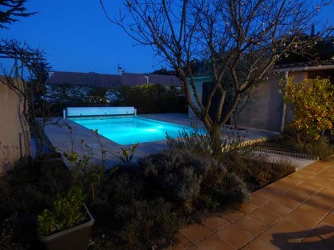 Underwater pool light for evening swims