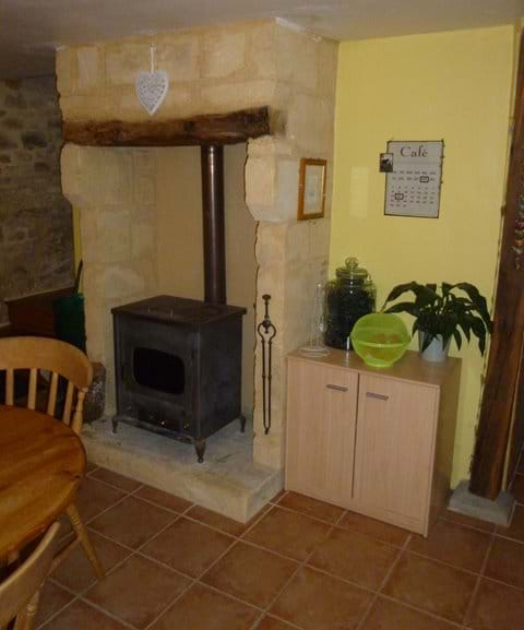fireplace in the gite kitchen