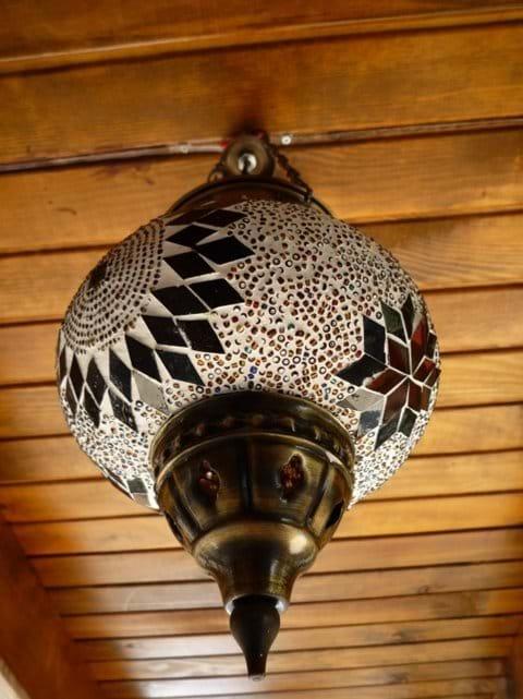 Handmade glass lighting on the terrace