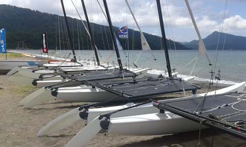 Hobie Cats at UCPA Sailing School, in Hisarönü. Tuition available.