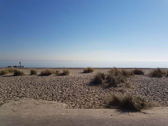 Sun on the sand dunes at Pakefield beach