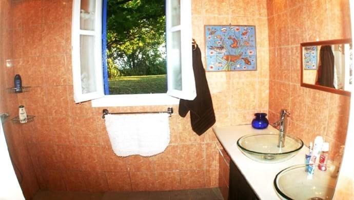 Orchard Villa master bedroom en-suite: shower, double vanity unit,  w-c