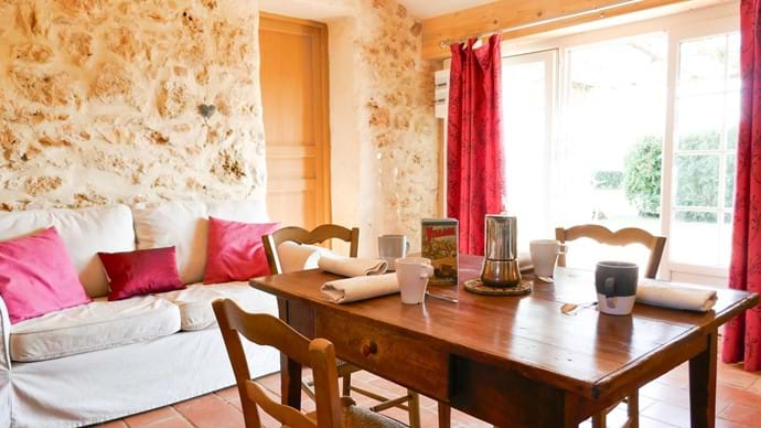 Inside dining in the cabanon