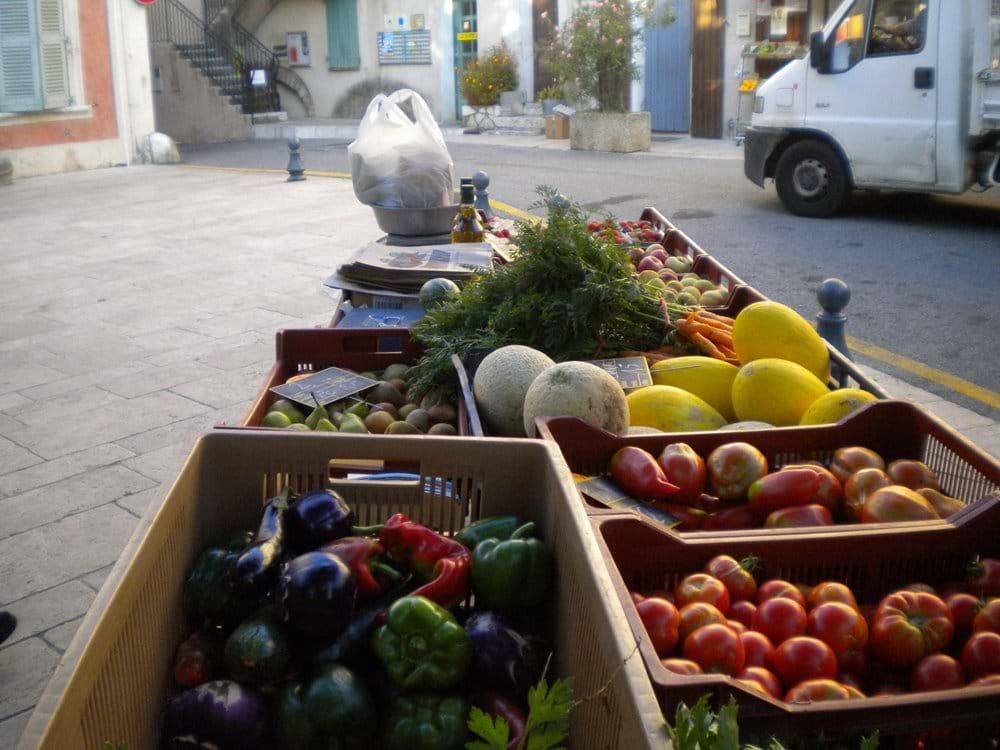 Vegetable stall in village