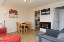 Open plan sitting/dining area with flat screen TV & feature fire