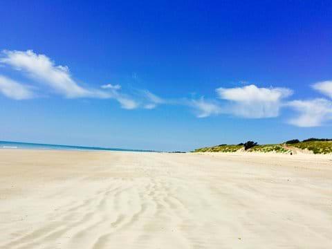 Expansive white sandy beaches of the Atlantic coast.