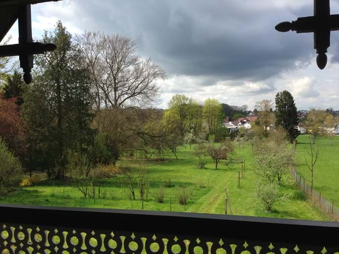 View from the balcony in early spring (upstairs)