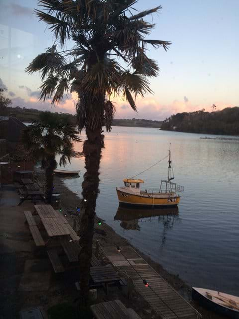 Having a bit to eat by Helford river