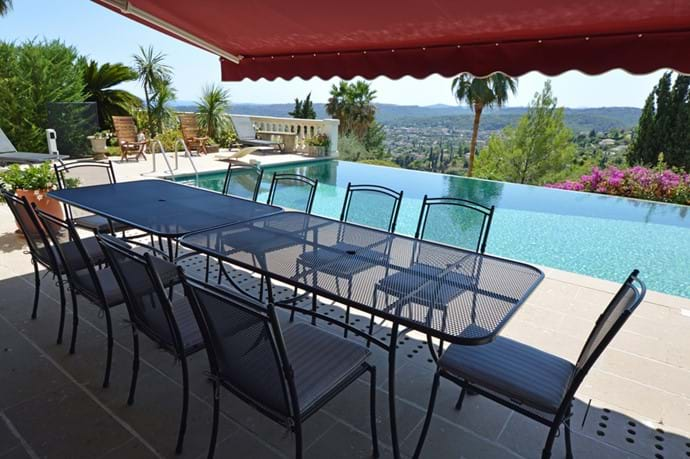 August 2017 - New tables and chairs (configuration for 6 or 10 seats) in poolside dining area, featuring water resistant comfortable cushions.  Remote controlled electrical awnings offer sun or shade.