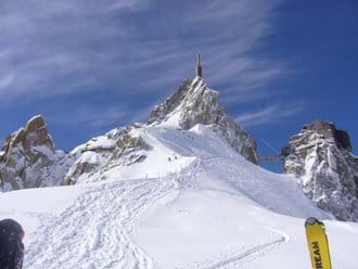 View of the aiguille du midi top station from the vallee blanche