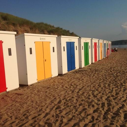 Evening by the beach huts