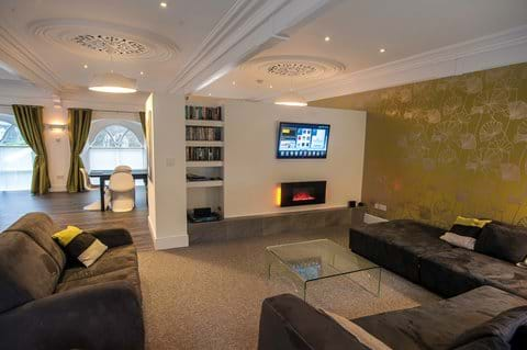 Comfortable lounge with surround sound and internet TV