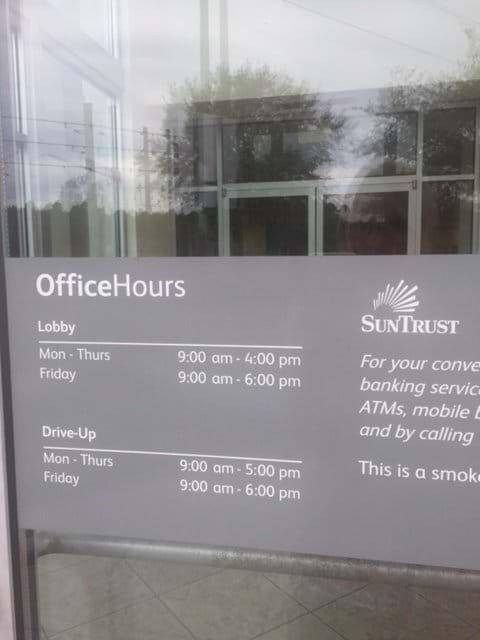 SunTrust Bank Opening Hours