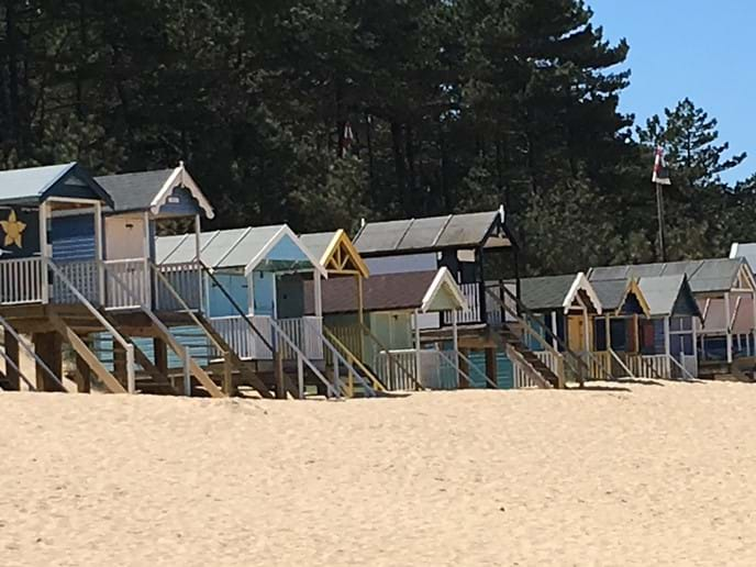 Pretty, colourful beach huts on Wells beach