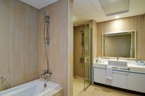 """""""Ensuite to main bedroom which includes a bath power showers,  large vanity unit"""