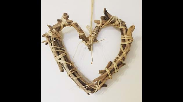 Homemade driftwood heart