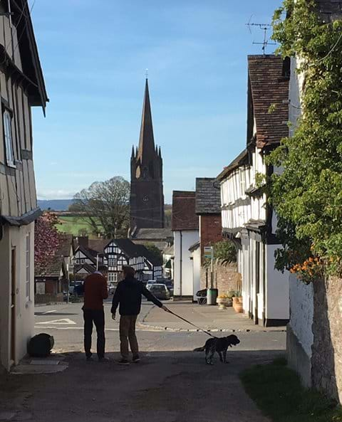Weobley church from top of Broad St