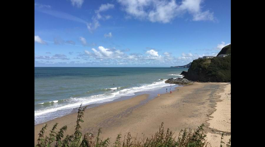 Tresaith beach from the coast path.