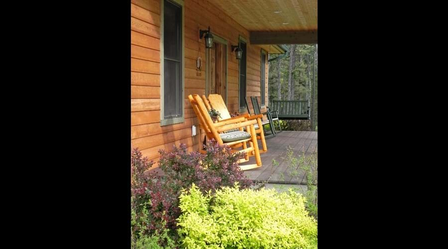 Rockers and porch swing for morning coffee