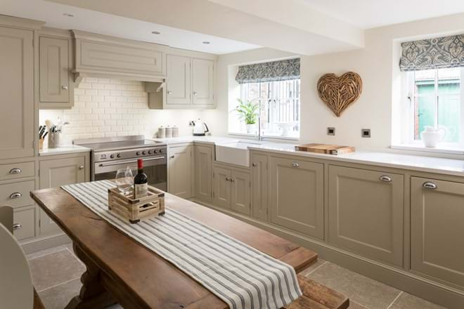 The handmade kitchen with built in appliances
