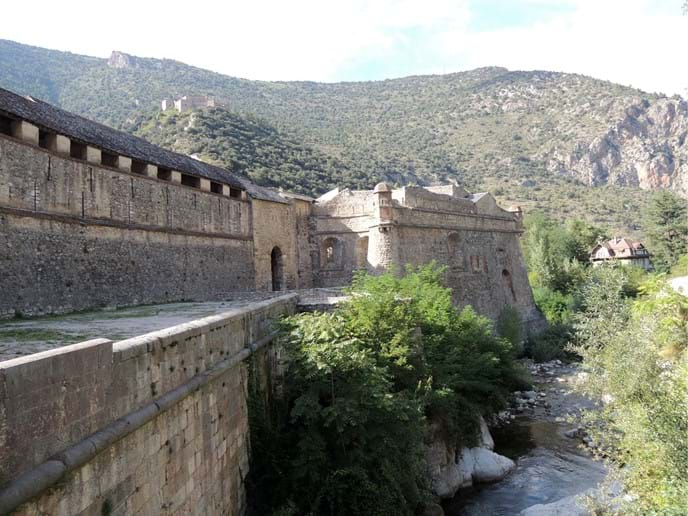 Part of Walls surrounding Villefranche-de-Conflent & Fort Liberia above
