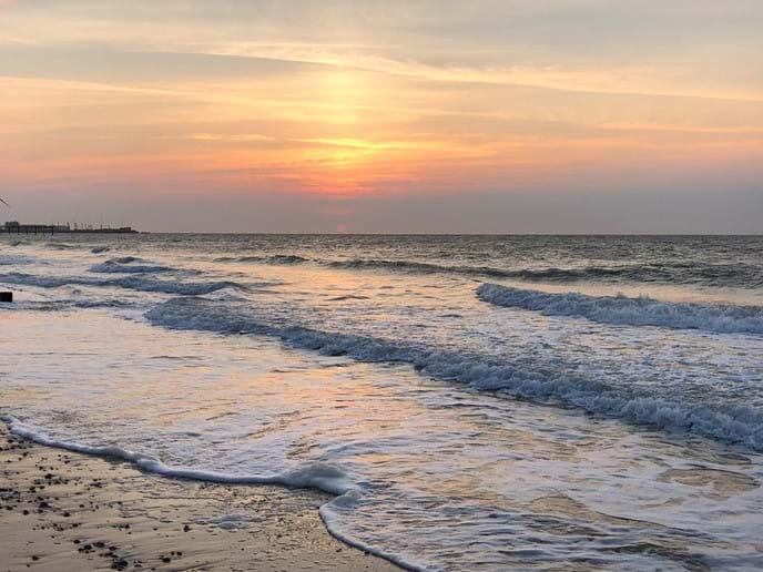 Sunrise over Pakefield beach