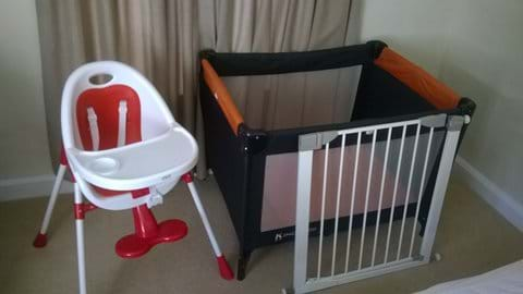 High chair, baby cot  and 2 Stair gates available