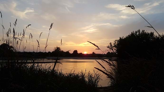 Sunset on the nearby river Alliers