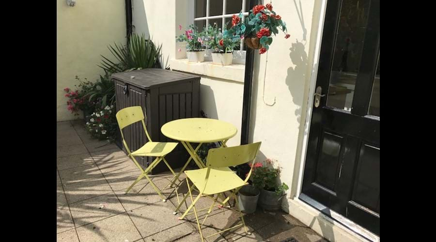 Lower Part of Patio Garden with Bistro Table and Chairs - perfect for morning coffee!