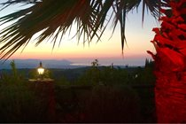 Sunset over the Akamas from the pergola in Mimosa gardens