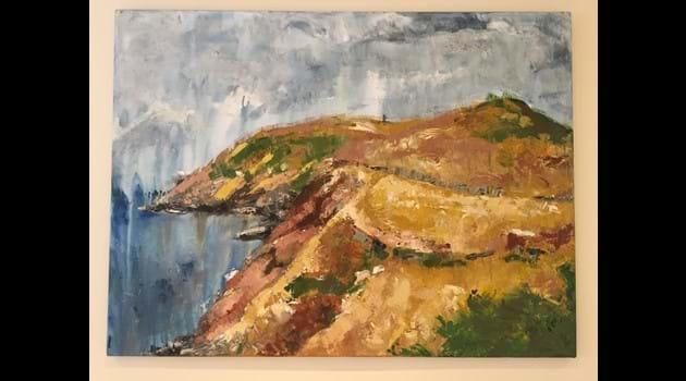 Original artwork by Gaby Henrard, view towards Corrin's Folly, Peel, along the Raad Ny Foillan
