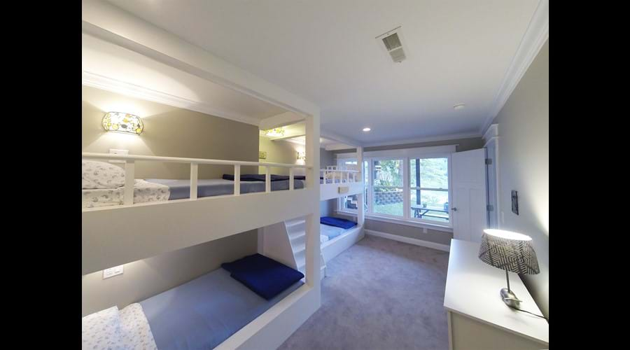 Bunk Bed room is downstairs and has a lake view