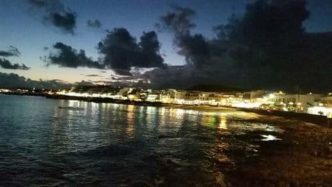 Playa Blanca village centre at night