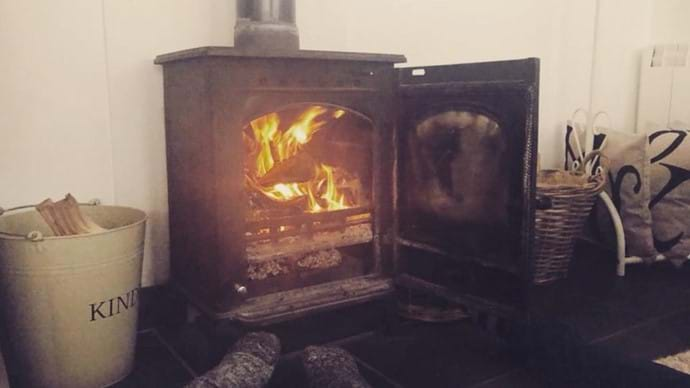 Central Heating the Welsh way, Riversound's Woodburner, nothing better when it's cold!