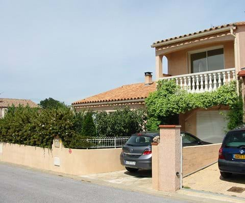 Front of Villa, the Balcony, parking space & enclosed garden