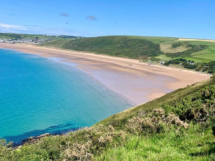 View from above Putsborough Beach along to Woolacombe