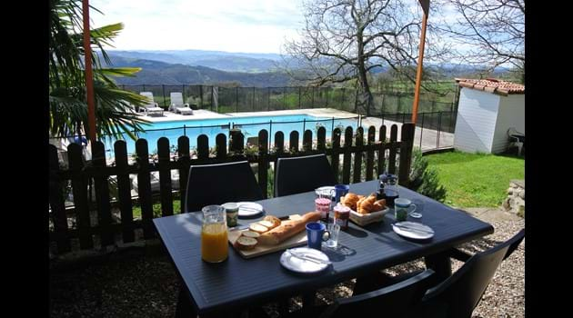 Breakfast on the large terrace overlooking the pool