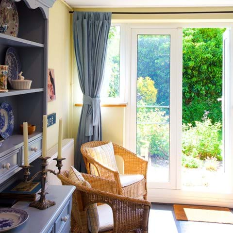 Door from the kitchen leads to small secluded garden