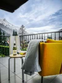 View from the lounge balcony of the Mont Blanc Range