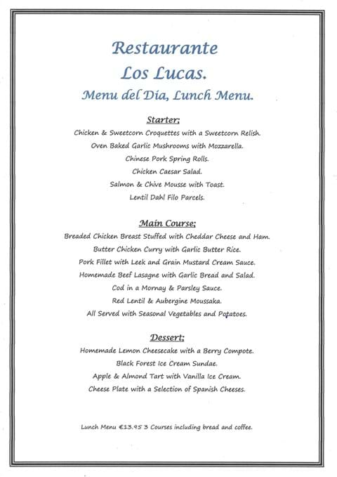 Our NEW Menu del Dia Lunchtime Menu which we will start serving from Friday 16th July 2021.