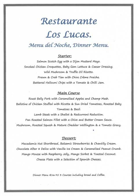 Our NEW Menu del Noche Evening Menu which we will be serving from Friday 1st October 2021.