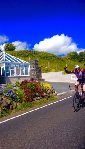 One of our many friendly cyclists that pass the boat house every day