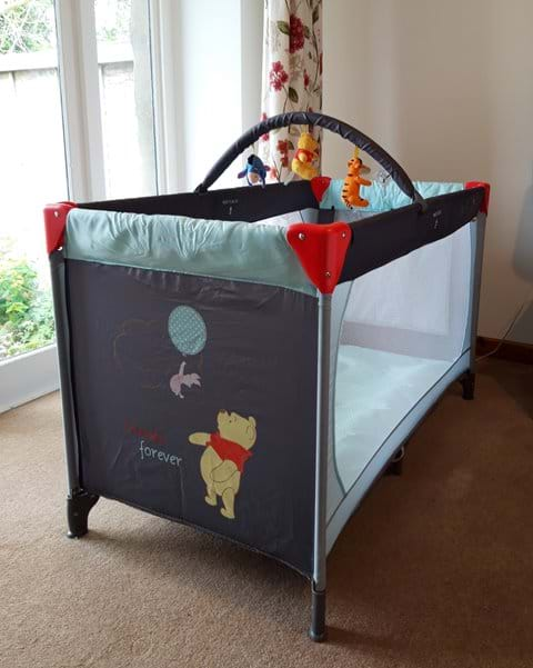 Cot, baby bath, change mat provided on request