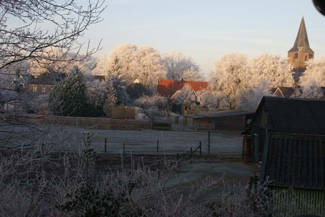 Frost over the meadows next to