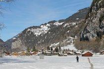 Lauterbrunnen valley cross country ski/ walking path 200m away .